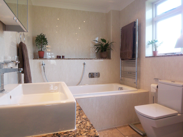 Bathroom with square sink